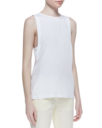 Sleeveless Round-Neck Blouse