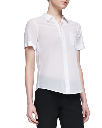 Uniform Short-Sleeve Voile Blouse