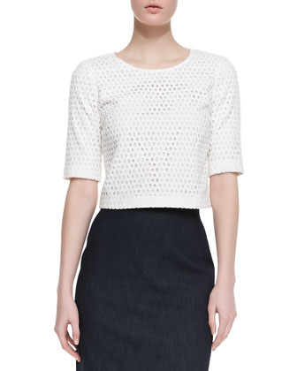 Eyelet Zip Crop Top and Super Jean Pencil Skirt
