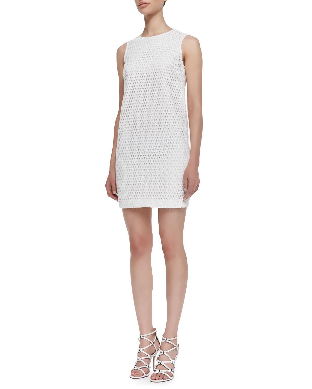Womens Sleeveless Eyelet Sheath Dress, White   Theory Icon   White (10)
