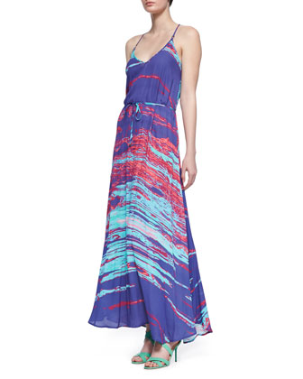 Ronnie Printed Tie-Waist Maxi Dress