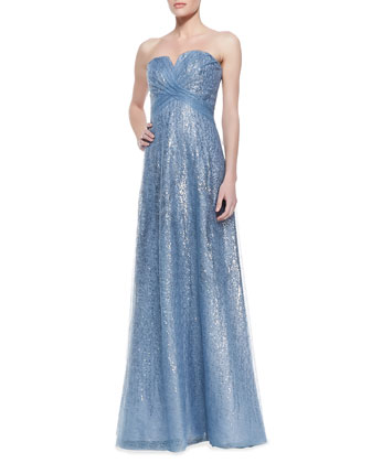 Strapless Metallic Overlay Gown, Icy Blue