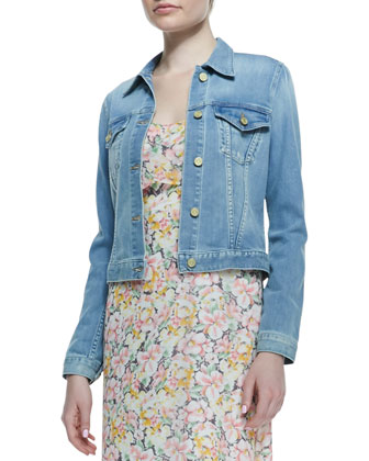 Classic Faded Denim Jacket & Hydeia Floral-Print Tiered Maxi Dress