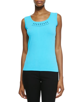 Arrow Scoop-Neck Tank, Turquoise