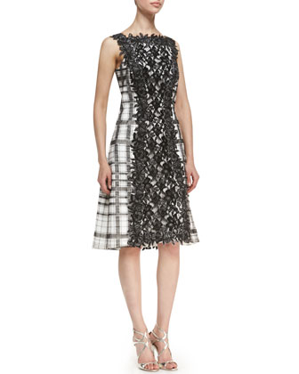 Lace Panel Front & Back Cocktail Dress, Black/White