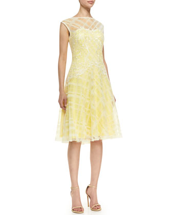 Sleeveless Embroidered Bodice Cocktail Dress, Lemon/White
