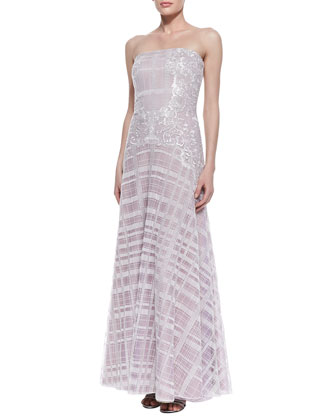 Strapless Embroidered Plaid Gown, Lavender/White