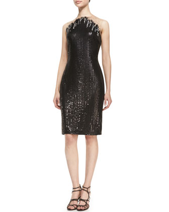 Sleeveless Sequined Cocktail Dress, Black