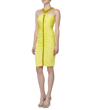 Ruched & Beaded Halter Dress, Yellow