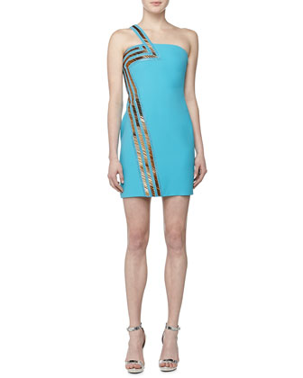 One-Shoulder Dress with Sequined Stripe, Blue