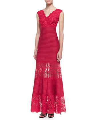 Cap Sleeve Lace Bodice Gown, French Rose