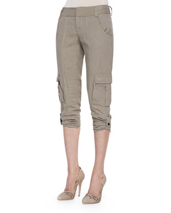 Beau High-Low Sheer Blouse & Narrow Tab-Cuff Cargo Pants