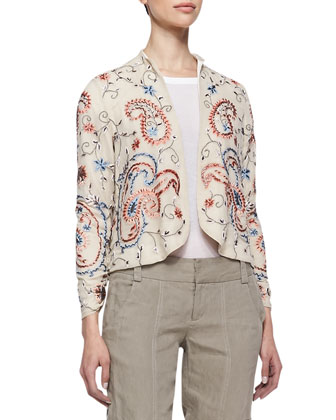 Eliette Open Embroidered Jacket, Rolled-Sleeve Pocket Tee & Narrow Tab-Cuff ...