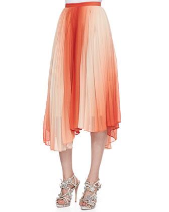 Norris Ombre Uneven Chiffon Skirt