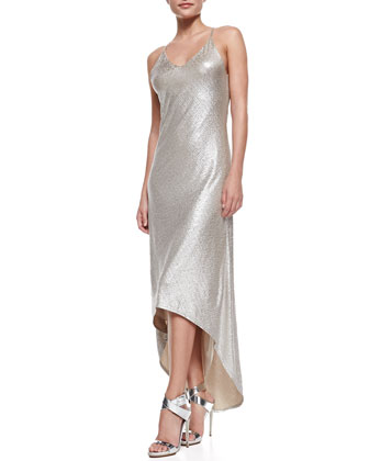 Lena Hi-Lo Metallic Maxi Dress