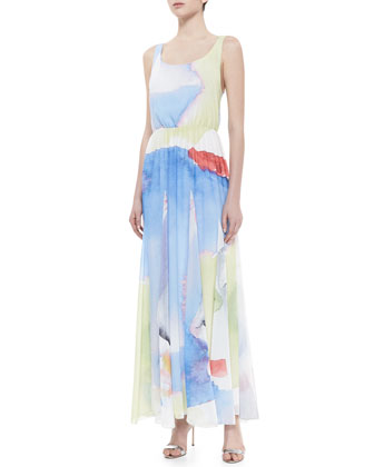 Nina Watercolor-Printed Maxi Dress
