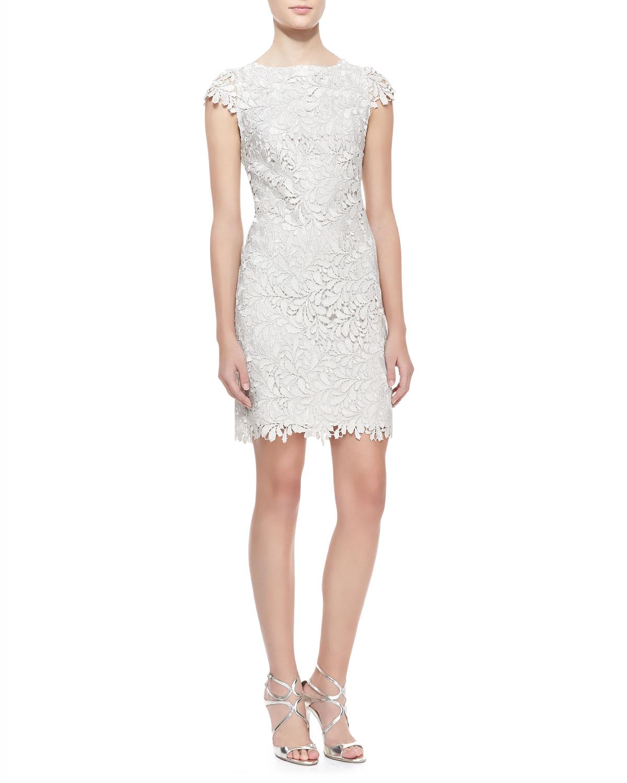 Womens Clover Metallic Lace Open Back Dress   Alice + Olivia   Light silver