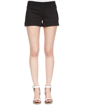 Dorie Cropped See-Through Knit Sweater & Cady Cuffed Shorts