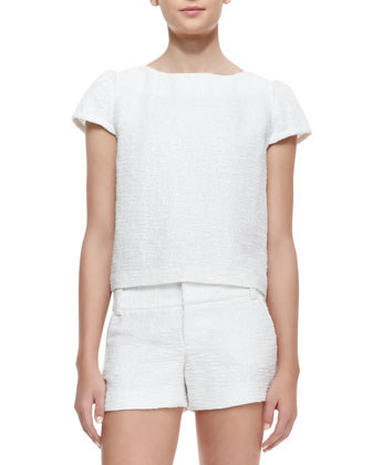 Boxy Tweed Cap-Sleeve Top, White