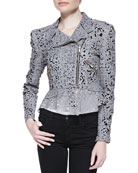 Eva Cutout-Leather Peplum Jacket
