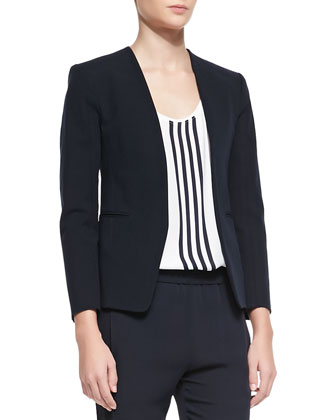 Tadean Open-Front Blazer, Isaac Striped Georgette Tank & Korene Double ...