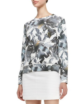 Incliner Z Rave Printed Sweatshirt, Gray/White/Taupe
