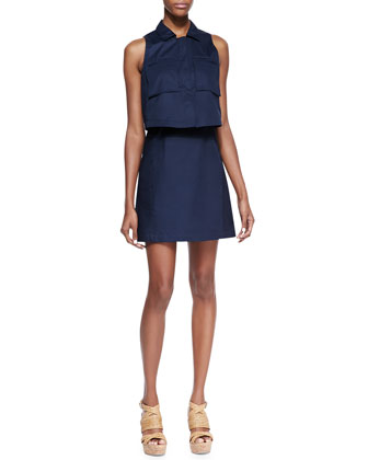 Gemine Taranto Pop Top Sleeveless Dress, Uniform Blue