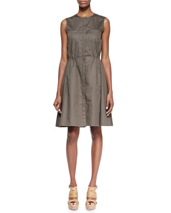 Ketan Taranto Cinched-Waist Cotton Dress, Mud