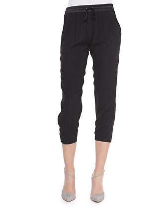 Camilla Pleated Bomber Jacket & Cropped Drawstring Pants