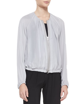 Camilla Pleated Bomber Jacket