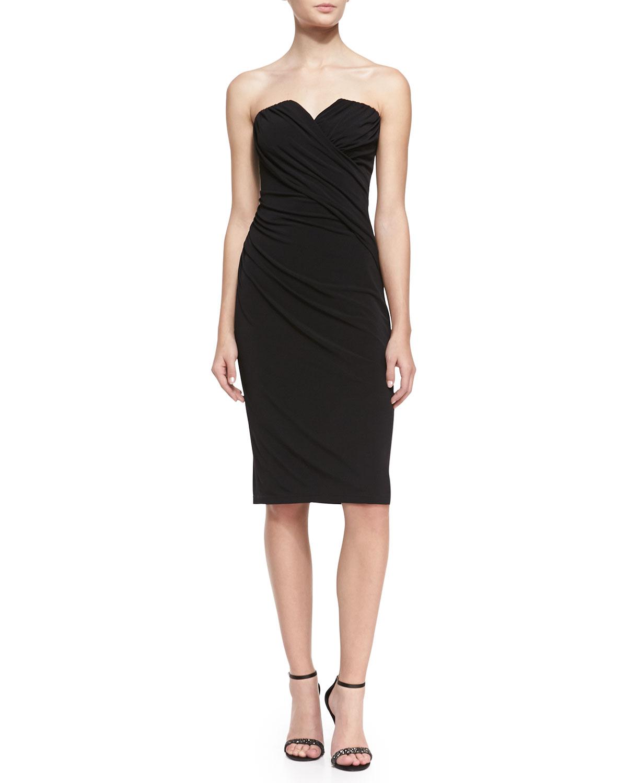 Womens Strapless Beaded Back Cocktail Dress, Black   David Meister   Black (4)