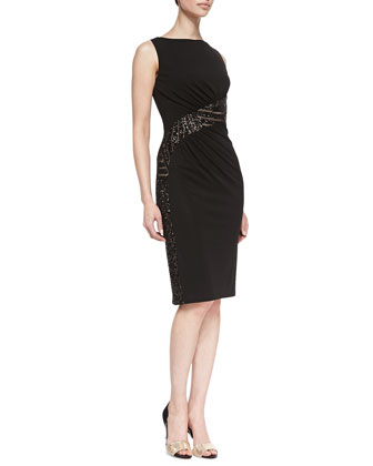 Sleeveless Lace Waist Cocktail Dress, Black