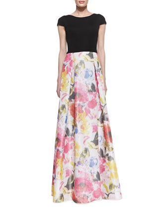 Cap Sleeve Floral Skirt Gown, Black/Multicolor