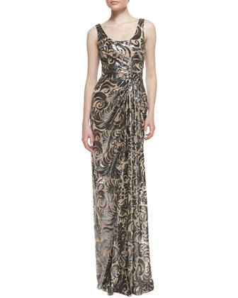 Sleeveless Off-Center Pleated Beaded Gown, Nude/Black