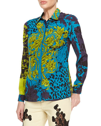 Long-Sleeve Printed Silk Blouse, Turquoise