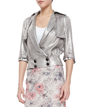 3/4-Sleeve Metallic Moto Jacket, Brushed Silver