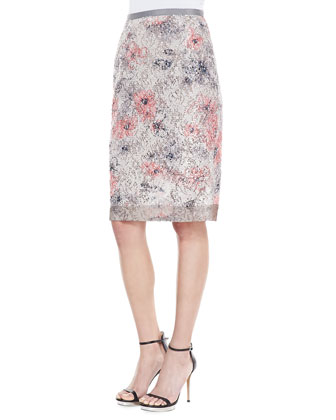 Sequin Floral Pencil Skirt, Ecru/Blush
