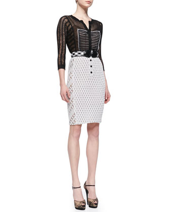 Belted Mixed-Media Sheath Dress, Black/White