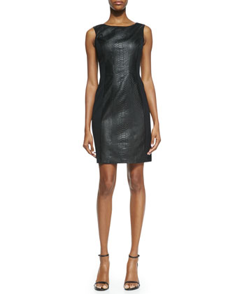 Sleeveless Faux Snake Sheath Dress, Black