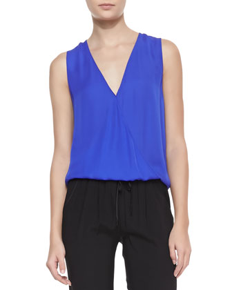 Double-Georgette Sleeveless Top & Cropped Drawstring Pants