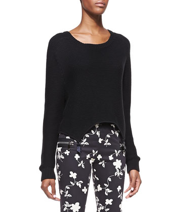 Garter Asymmetric-Hem Sweater and Rock Floral-Print Leggings