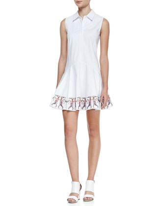 Betty Sleeveless Embroidered-Hem Shirtdress