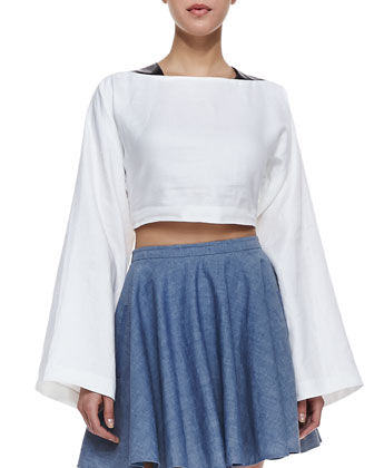 Danny Long-Sleeve Crop Top and Tina Chambray Circle Skirt