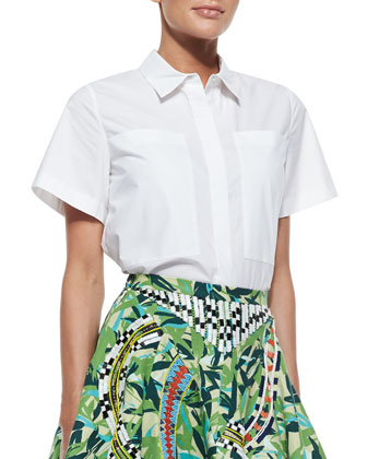 Richard Short-Sleeve Cotton Blouse