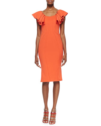 Ruffle-Sleeve Seamed Sheath Dress, Flame