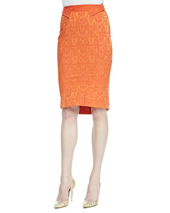 High-Low Pencil Skirt with Back Ruffle, Flame