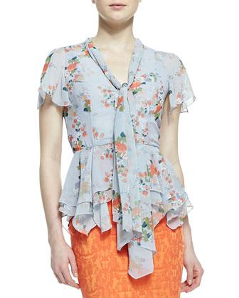 Short Sleeve Tie Front Floral Blouse, Multicolor