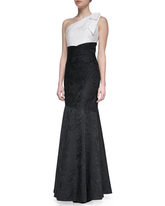 Bow One-Shoulder Colorblock Gown, Black/White