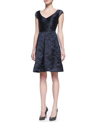 Beaded Sleeve V-Neck Party Dress, Navy