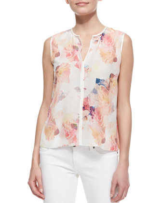 Perforated Cropped Denim Moto Vest & Enchanted Gardens Floral-Print Top